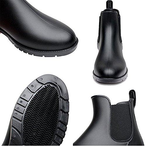 Anti Black On Booties Women's Rain EU 37 Slip Fashion Elastic Ankle Booties Chelsea Short Waterproof Boots Rain Slip WgYPqT0Ywx