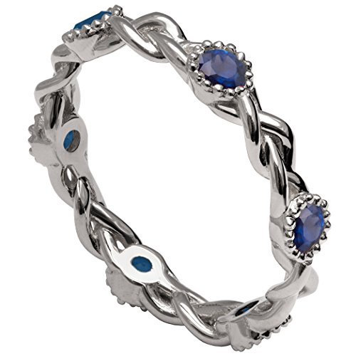 Solid 18K White Gold and Blue Sapphires Braided Eternity Wedding Ring For Women His and Hers Leaf Sets Promise Band Celtic Woven by Doron Merav