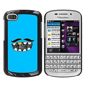MOBMART Carcasa Funda Case Cover Armor Shell PARA BlackBerry Q10 - The Mustache And His Dentition