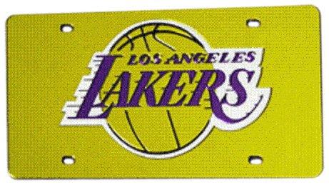 Los Angeles Lakers Metal - Rico Industries NBA Los Angeles Lakers Laser Inlaid Metal License Plate Tag, Yellow