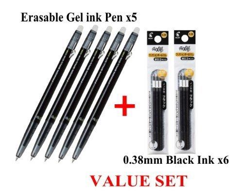 Pilot FriXion Ball slim Retractable Erasable Gel Ink Pens,fine Point, - 0.38 Mm - Black Ink- Value set of 5 & 6 Gel Ink Pen Refill Pack Slim Retractable Pen