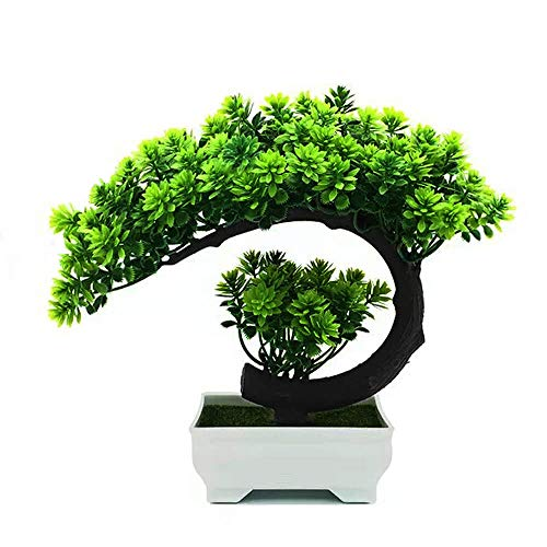 yoerm Mini Face Bonsai Tree Plastic/Resin Zen Garden Welcome Pine Artificial Plants in Pots for Home Decor Indoor (Note: It's Small, Size:8.2