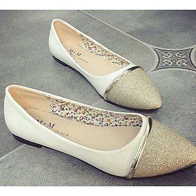 Cómodo y elegante soporte de zapatos de las mujeres pisos caída comodidad Casual sintética soporte de tacón Split Joint Negro/Blanco/Plata Otros negro
