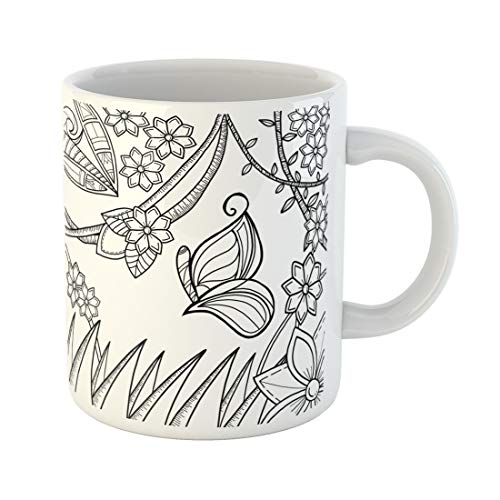 Emvency Funny Coffee Mug Digitally Butterfly in Magical Garden for Adult Colouring Page and Book Perfect 11 Oz Ceramic Coffee Mug Tea Cup Best Gift Or Souvenir ()