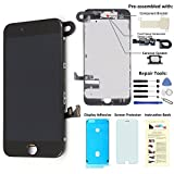 Display Touch Screen LCD Digitizer Assembly with 3D Touch for iPhone 7 Plus (5.5 inch) Replacement (with Front Camera and Sensor + Earpiece Speaker + Shield Plate + Display Frame Adhesive) (BLAC