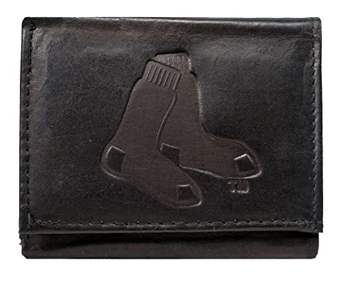 Embossed Mlb Tri Fold Wallet - Boston Red Sox MLB Embossed Logo Black Leather Trifold Wallet