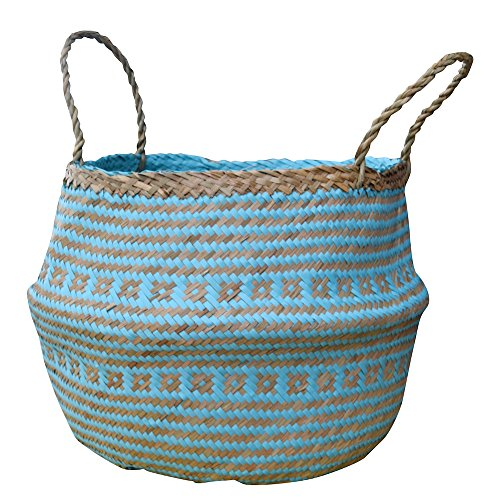DUFMOD Large Natural and Plush Woven Seagrass Tote Belly Basket for Storage, Laundry, Picnic, Plant Pot Cover, and Beach Bag (Plush Criss-Cross Seagrass Aquamarine, Large)