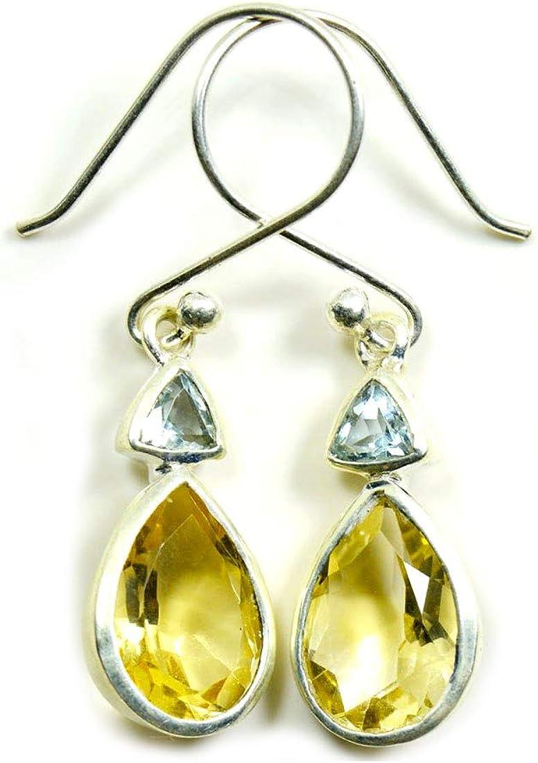 Pendientes de plata de ley 925 con forma de pera de citrino natural para mujer