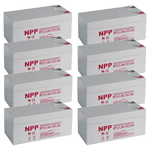 NPPower 12V 3.3Ah Flame Retardant SLA Battery With F1 Style Terminals / 8 Pack by NPP