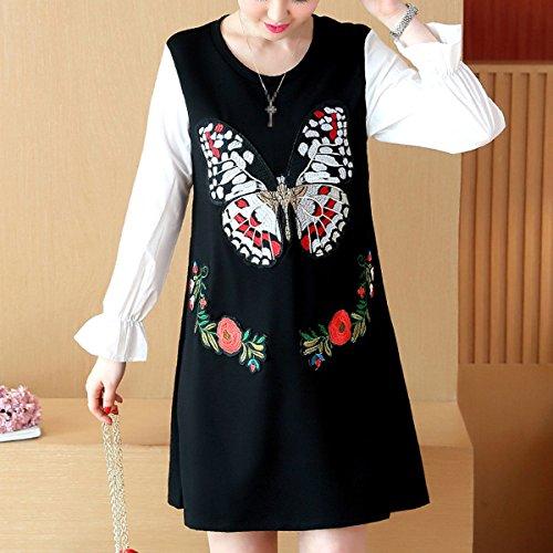 Elegante Lady Lunghe Blocco Formato Maniche Casual Farfalla Di Di Abito Abbigliamento Black Grande Colore rrUxd6