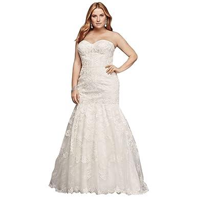 Davids Bridal Corset Bodice Mermaid Lace Plus Size Wedding Dress