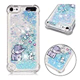 iPod Touch 7 / iPod Touch 6 / iPod Touch 5 Case, ZERMU Shockproof Cartoon Pattern Waterfall Fusion Moving Liquid Sparkling TPU Bumper Luxury Bling Quicksand Floating Glitter Case for iPod Touch 5/6/7
