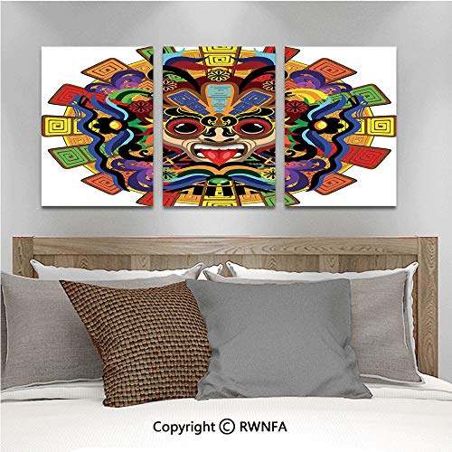 Canvas Wall Art HD Colorful Aztec Warrior Mask Seremony Tattoo Style Devotion Manuscript Scary Wonders Modern Canvas Prints Painting Artworks Oil Painting Decorative,15.7