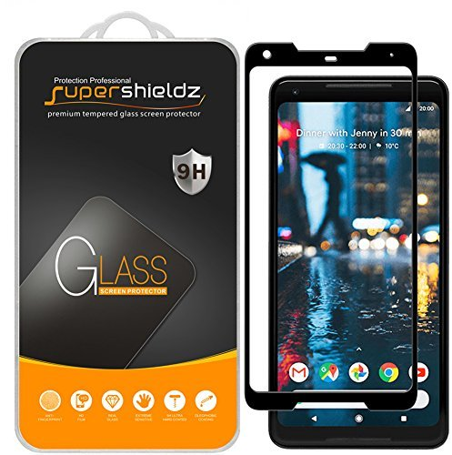 [2-Pack] Supershieldz for Google (Pixel 2 XL) Tempered Glass Screen Protector, [3D Curved Glass] Anti-Scratch, Bubble Free, Lifetime Replacement (Black)