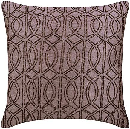 Square Pillow Cover Embroidered Pillow Oriental Pillow,Throw Pillow SP4040 9069 16x16 Designer Pillow Brown Pillow Chair Rug Pillow
