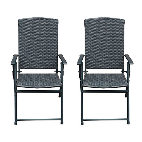 SunLife Folding Rattan Chairs Outdoor Indoor Foldable Camping Garden Furniture Chairs, Set of 2, Dark Brown (Chair Garden Foldable)
