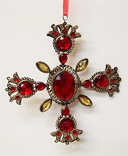 - Christmas Maltese Filigree Cross Faux Ruby Topaz Gemstones 7