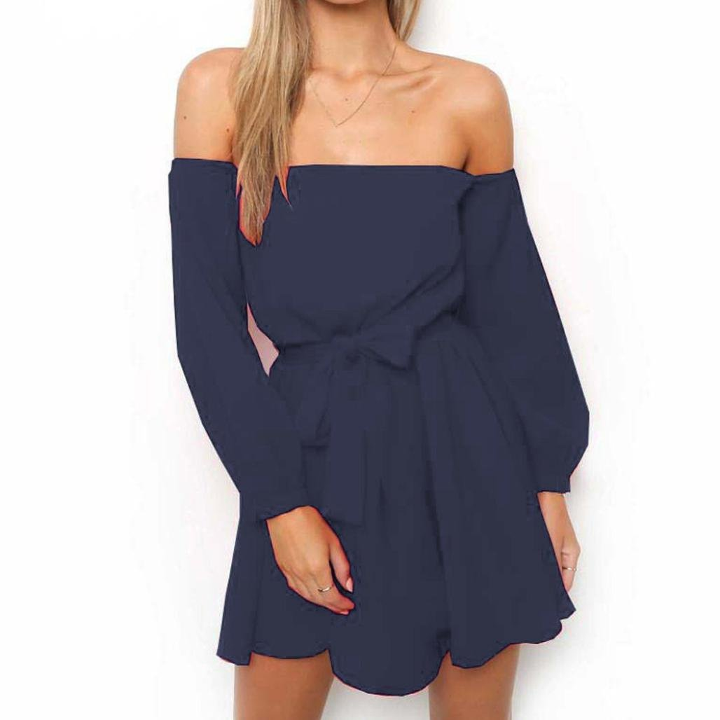 Womens Sexy Off Shoulder Bow Strap Solid Long Sleeve Mini Dress Ladies Evening Party Beach Summer Work (M, Navy)