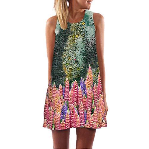 - Women 3D Print Mini Dress Summer Vintage 3D Floral Print Boho SleevelessTank Short Mini Dress Plus Size Sundress