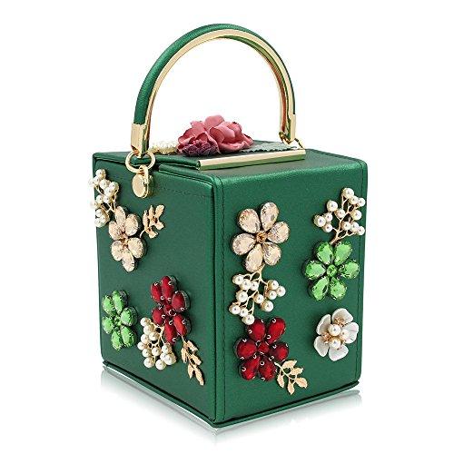 perlée de Sac Color Blue Sac pour Sac Mariage Green Main soirée à de Mariage boîte Fleurs de à Joy Femmes discothèques Miss FOfp44