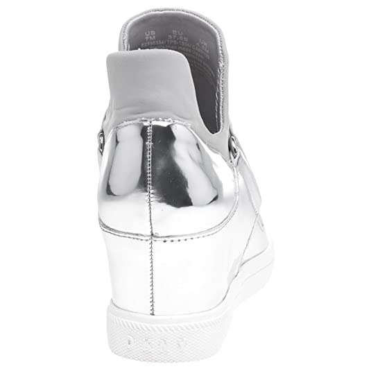 c33d7b8df63560 DKNY Cosmos Sneaker Wedge Trainers Metallic 6.5 UK Silver  Amazon.co.uk   Shoes   Bags