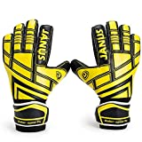 Youth & Adult Soccer Goalie Goalkeeper Gloves with Pro Fingersaves, Strong Grip, Secure