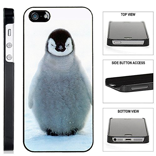 Costumes Iphone ([TeleSkins] - Cute Baby Penguin - iPhone SE / 5 / 5S Black Plastic Case - Ultra Durable Slim & HARD PLASTIC Protective Vibrant Snap On Designer Back Case / Cover for Girls. [iPhone SE / 5 / 5S])