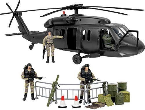 - Click N' Play Military Black Hawk Attack Combat Helicopter 30 Piece Play Set with Accessories.