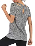 Workout Shirts Yoga Tops Activewear T-Shirts for Women Running Fitness Sports Short Sleeve Tees(Gray XXL)