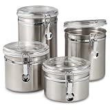 Oggi Airtight Stainless Steel Canisters with Acrylic Tops (Set of 4)