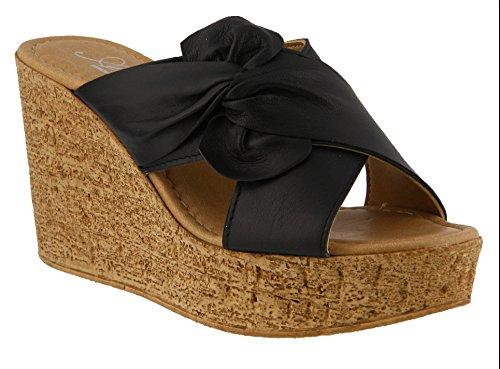 Spring Step Bow - Azura by Spring Step Women's Veria Wedge Sandal, Black, 36 M EU (US 5.5-6 US)
