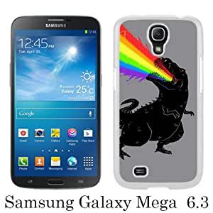Samsung Galaxy Mega 6.3 case,Unique Design T Rex Dinosaur Puking Rainbow White cell phone case for Samsung Galaxy Mega 6.3 i9200 i9205