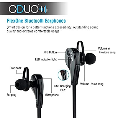 Oduo FlexOne Bluetooth Earphones - Wireless Bluetooth Headphones - Hands Free Music Streaming and Calling - Package includes wall charger and a protection carrying case