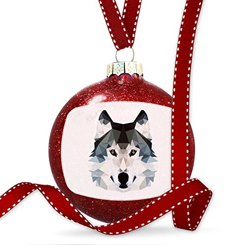 Christmas Decoration Geometric Animal art Wolf Ornament by NEONBLOND