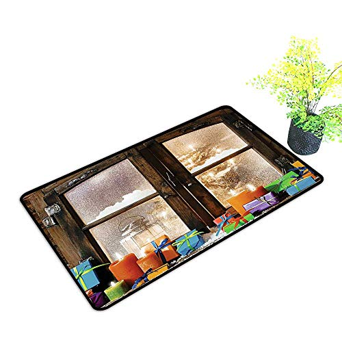 Price comparison product image Easy Care Door Mat W dow Holiday Digital ed K d Mach Washable Brown White Orange Green Ideal Anti Slip Pad W29 x H17 INCH
