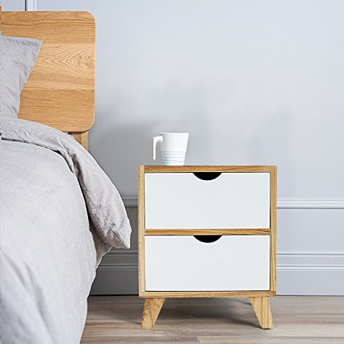 Jerry & Maggie - Nightstand - 2 Tier Curving Pattern Sides Night Stand Storage Bedside Table with 2 Drawer Real Natural Paulownia Wood (2 Tier | Cubric Style) by Jerry & Maggie (Image #1)