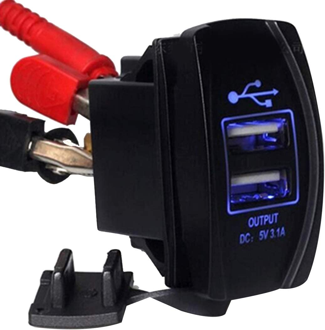 Timemall Car Charger Car Motorcycle Dual USB Port Charge with Dustproof Cover and LED Light Random Color Delivery