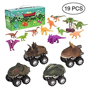 Dinosaur Toys - Pull Back Dinosaur Cars Toys, Educational Kids Realistic Dino Figures Toys, Creative Gifts for Boys Girls, Includes 4-Pack Dino Vehicles Cars with Big Tire Wheel, 15-Pack Dino Toys