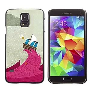 [Neutron-Star] Snap-on Series Teléfono Carcasa Funda Case Caso para Samsung Galaxy S5 [Cartoon Vela Lluvia Capitán lindo]