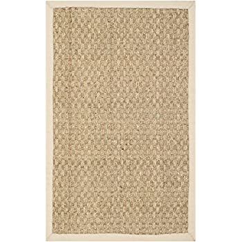 Safavieh Natural Fiber Collection NF114A Basketweave Natural and  Beige Seagrass Area Rug (2' x 3')