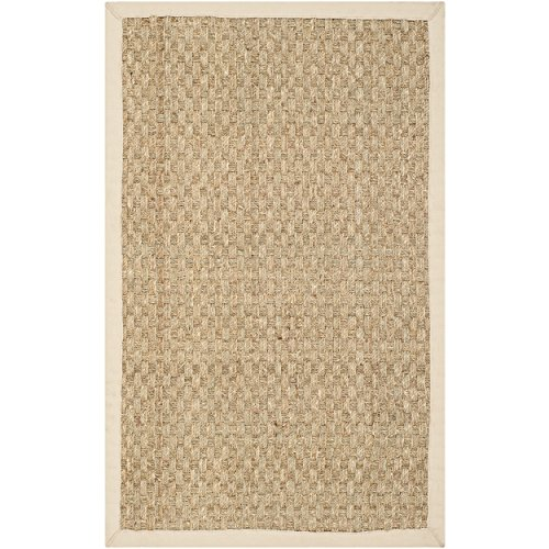 Safavieh Natural Fiber Collection NF114A Basketweave Natural and Beige Summer Seagrass Area Rug (2' x 3') Luxe Cotton Collection