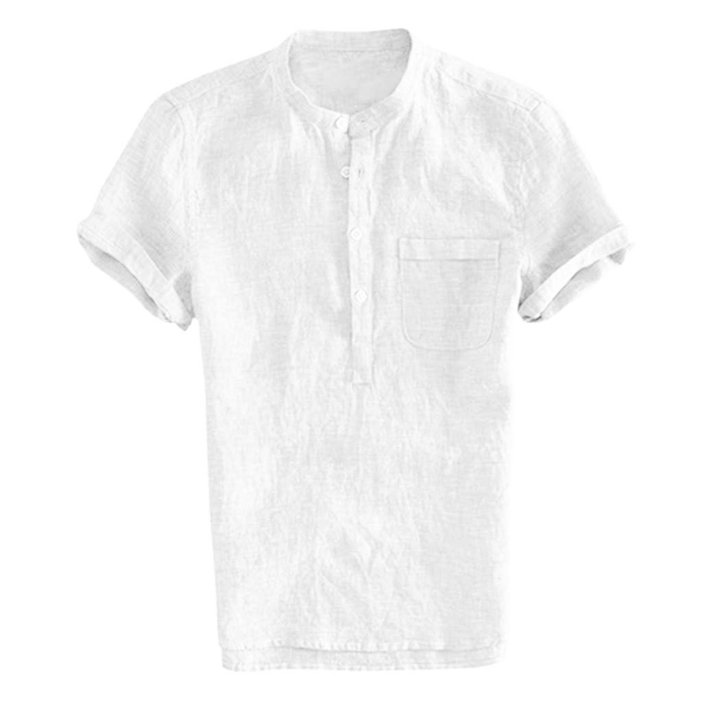 Corriee 2019 Gift Idea Men's Solid Color Cotton Linen Button Up Loose Fit Short Sleeve Shirt Pullover Tops Blouses White by Corriee (Image #4)