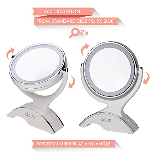 daisi Magnifying Lighted Makeup Tabletop Mirror with 3608304 Rotation  Standard 1X amp 7X Magnification LED Lighted Free Standing DoubleSided Bathroom Mirror for Vanity or Desk