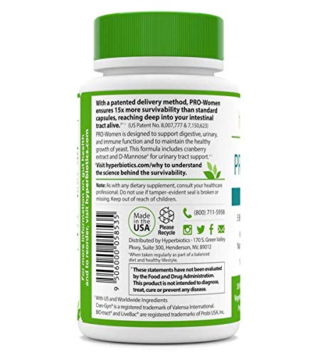 PRO-Women: Probiotics for Women with Cranberry Extract & 100% Naturally-Occurring D-Mannose – 15x More Effective than Capsules with Patented Delivery Technology – 30 Once Daily Time Release Tablets