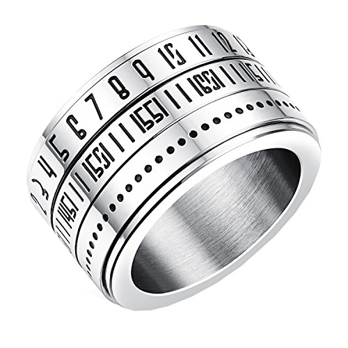 PMTIER Men's Arabic Number Wide Spin Stainless Steel Ring Size 10