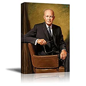 "Portrait of President Dwight D. Eisenhower - Inspirational Famous People Series | Giclee Print Canvas Wall Art. Ready to Hang - 24""x36"""