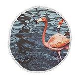 KESS InHouse Angie Turner Pink Flamingo Animals Blue Round Beach Towel Blanket