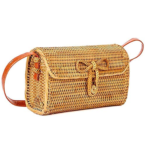 - Swyss Womens Retro Bali Rattan Woven Crossbody Bag | Handbag | Tote Bag with Bow Clasp | Shoulder Bags | Natural Chic Straw Bags