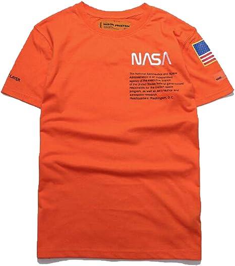 HBBDYZ Unisex Camiseta De La NASA NASA Logotipo De Cuello Redondo Manga Corta De Algodón Deportes, Lavada Y Sin Decoloración Y Deformación Corta De Algodón: Amazon.es: Deportes y aire libre