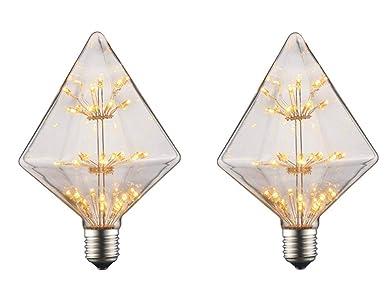 JKLcom - Bombillas LED decorativas estilo vintage Edison, diseño de estrellas, 3 W,